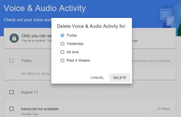 Google delete recordings
